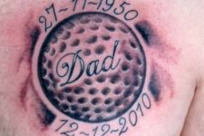 Memorial golf tattoo on the chest