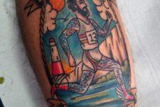 Running-inspired tattoo on the leg