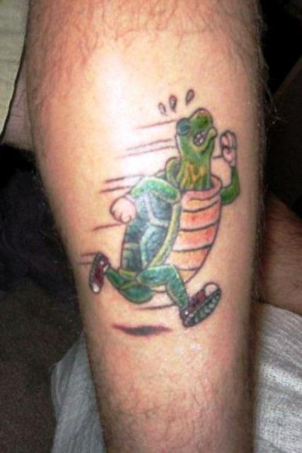 Running turtle tattoo idea
