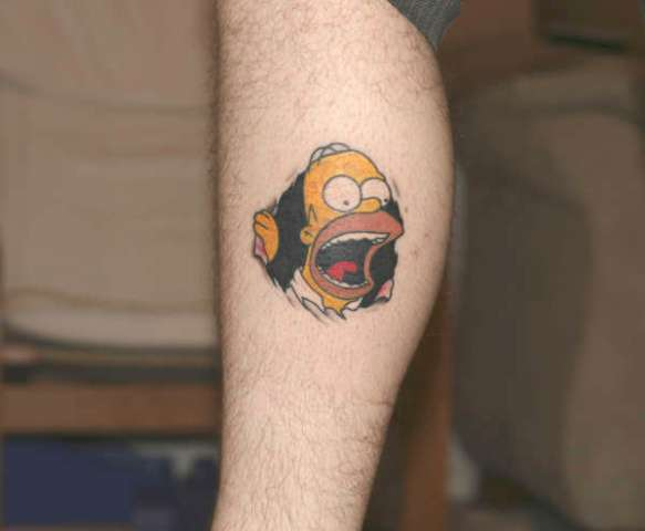 Screaming Homer Simpson tattoo