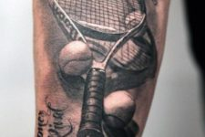Tennis inspired tattoo on the forearm