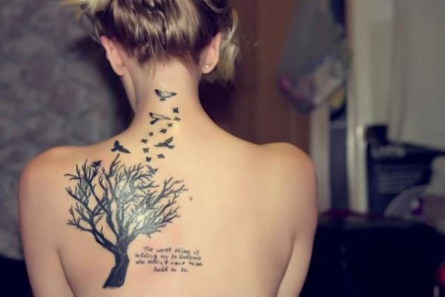 Tree of life and birds tattoo