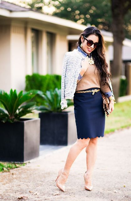 With beige shirt, jacket, leopard clutch and beige pumps