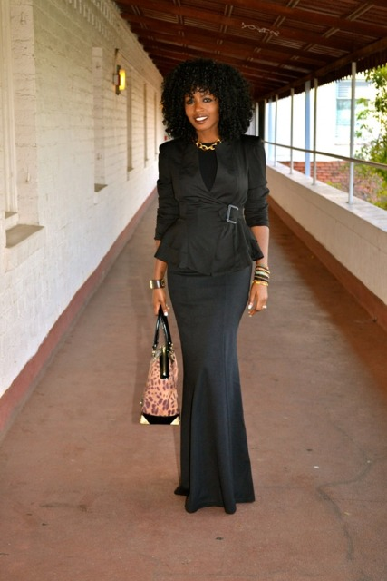 With black top, black peplum jacket and leopard bag