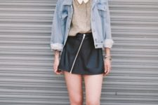 With blouse, denim jacket and flat boots
