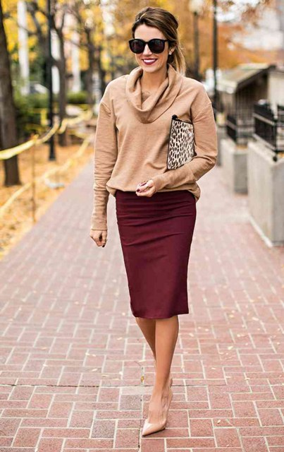 With camel shirt, leopard clutch and beige pumps