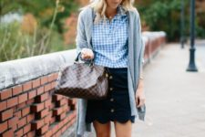 With checked button down shirt, gray cardigan, printed bag and leopard flats