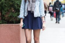 With denim jacket, checked scarf and ankle boots