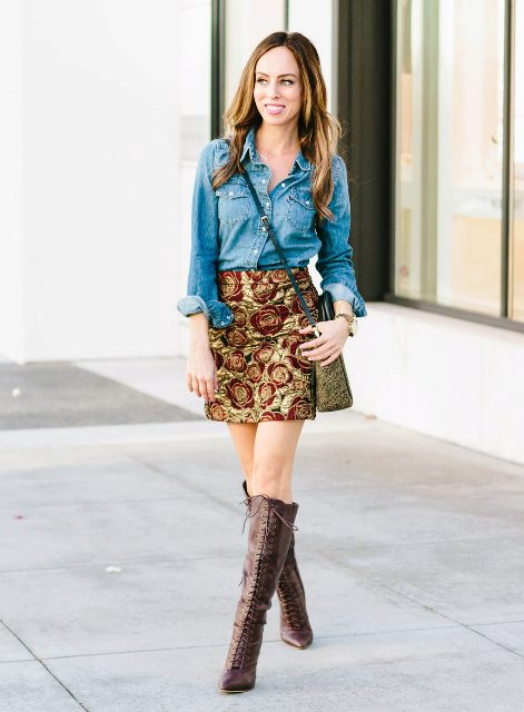 With denim shirt, crossbody bag and brown lace up high boots
