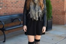 With jacket, printed scarf, wide brim hat and gray boots