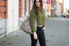 With jeans, leopard ankle boots and gray tote