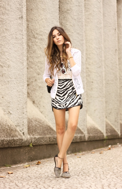With lace top, white cardigan and printed flat shoes