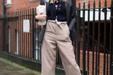 With lace up shirt, long jacket and wide leg trousers