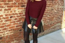 With marsala shirt, black tights, black ankle boots and clutch