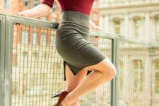 With marsala turtleneck shirt and marsala heels