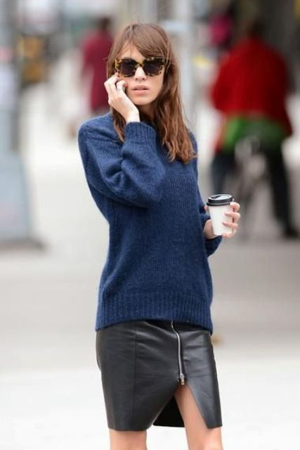With navy blue long sweater