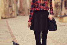 fall look with a plaid shirt