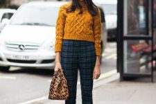 With plaid trousers, leopard bag and black high heels