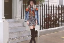 With printed shirt, denim jacket, wide brim hat and over the knee boots