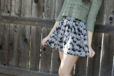 With printed skater skirt and ankle boots