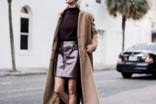 With shirt, camel maxi coat and beige flats