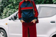 With sporty jacket, marsala midi skirt and bag