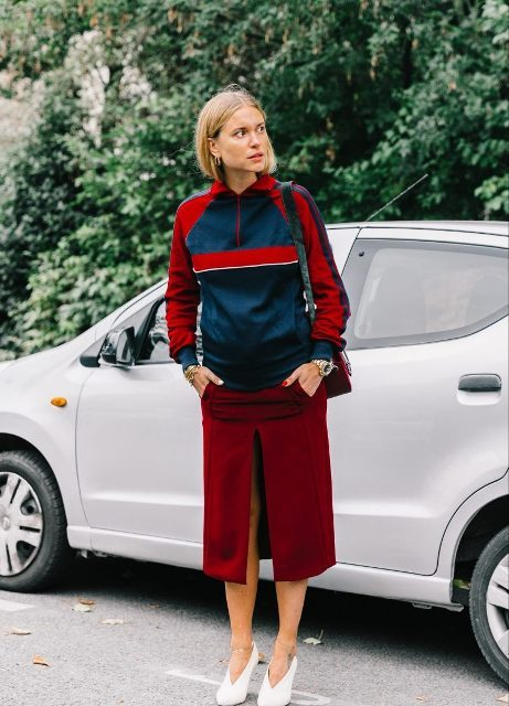 With sporty jacket, marsala midi skirt and bag