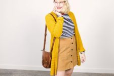 With striped shirt, red flats, brown bag and mustard yellow cardigan