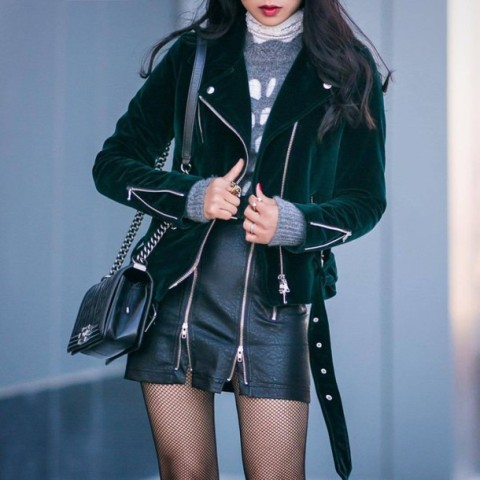 With sweater, jacket and chain strap bag