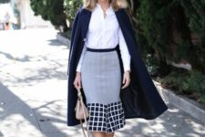 With white button down shirt, black pumps, beige bag and navy blue midi coat