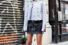 With white shirt, light gray jacket and high heels