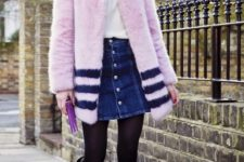 With white shirt, pink coat and high boots