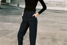 02 a black turtleneck, high waisted navy cropped pants, black flat shoes for a comfy work look