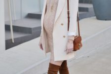 02 a blush cable knit sweater dress, a creamy coat, brown tall boots and a bag for a feeling of comfort