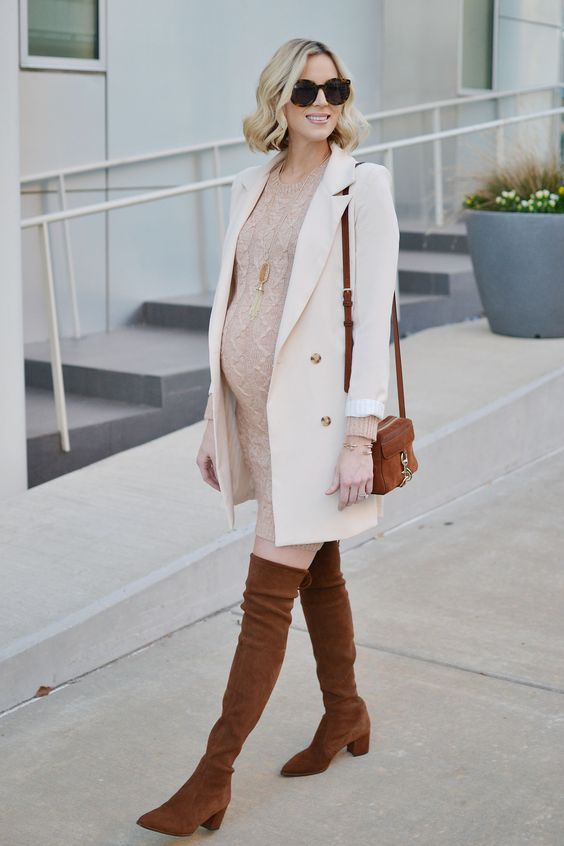 a blush cable knit sweater dress, a creamy coat, brown tall boots and a bag for a feeling of comfort