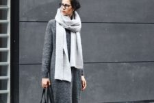 02 a dark grey midi sweater dress styled with black leggings, white sneakers, a black bag and a grey scarf for a comfy winter look