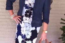 02 a floral sheath dress, a navy blazer, navy flats and a brigth bag plus a pearl necklace
