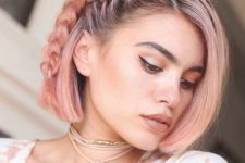 02 a short rose gold bob with a small side braid for a chic and trendy boho feel