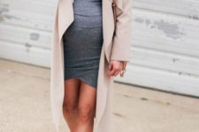 03 a casual grey dress, a blush waterfall duster and white sneakers for a casual work outfit