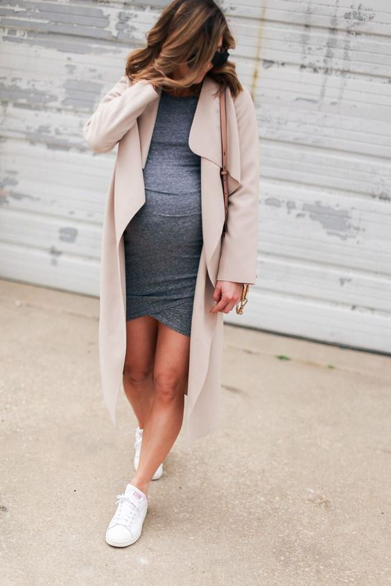 a casual grey dress, a blush waterfall duster and white sneakers for a casual work outfit