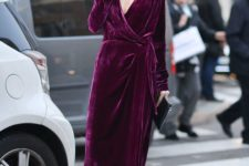 03 a fuchsia velvet wrap midi dress with a plunging neckline, a faux fur scarf and black booties for a statement