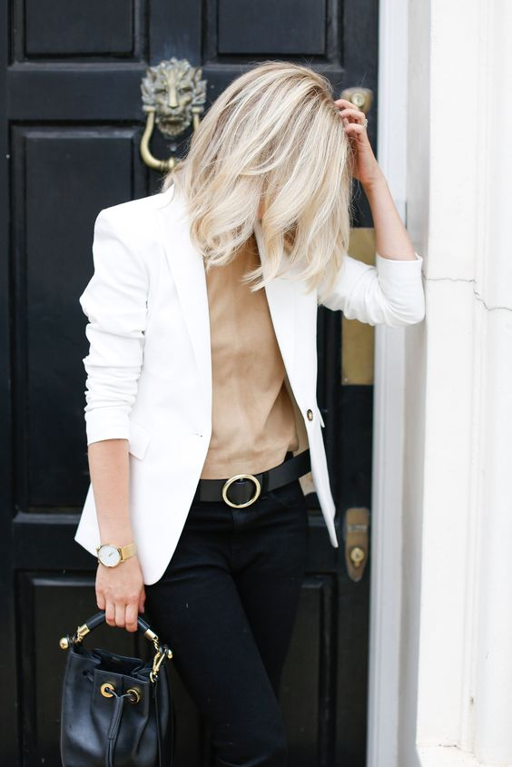 rock a fitted creamy blazer with black skinnies and a tan top for a fresher look
