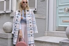 04 a blush pleated midi, a lavender top, a blush plaid coat, blue shoes and a pink bag