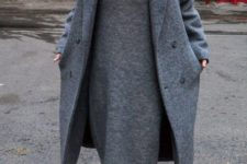 04 a grey midi knit dress with a V neckline, a matching coat and sneakers for a comfy casual look