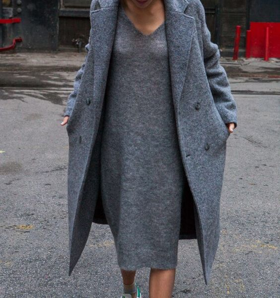 a grey midi knit dress with a V neckline, a matching coat and sneakers for a comfy casual look