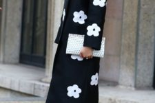 04 a retro-inspired black and white floral midi coat for a super elegant look