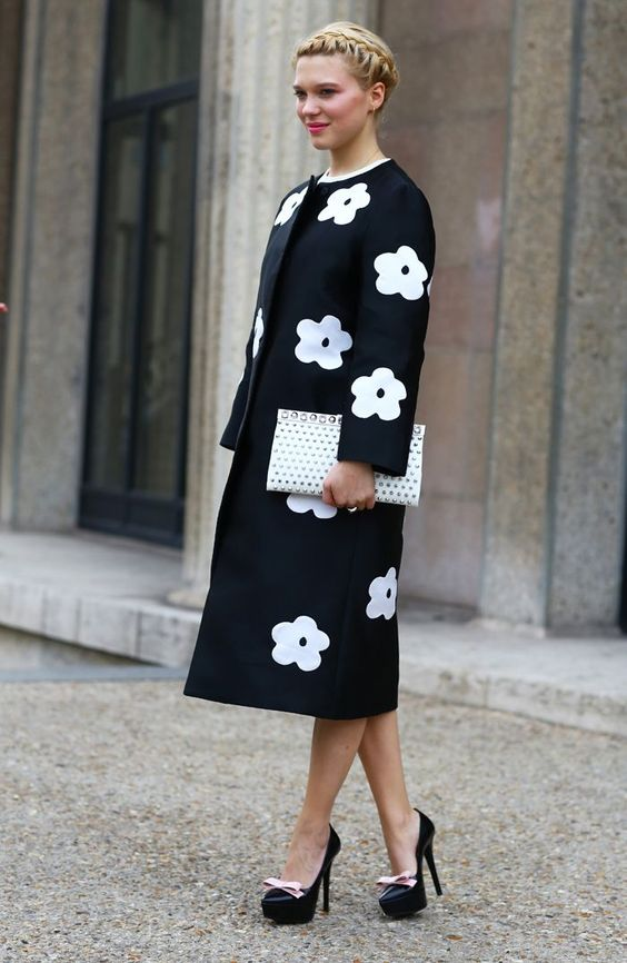 a retro-inspired black and white floral midi coat for a super elegant look