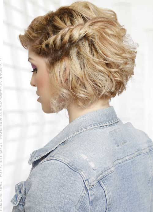 a short textural bob with a side twisted braid for a free-spirited and 90s inspired look