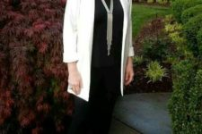 business casual look with black leggings