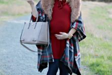05 a red over the knee dress with a bow, navy tights, navy booties, a checked cape with faux fur and a bag